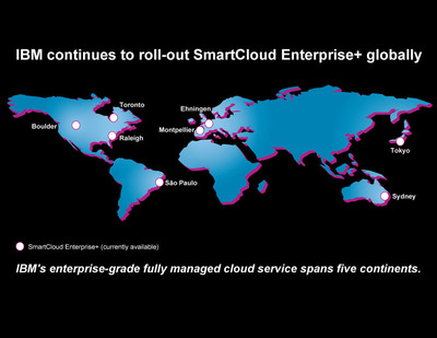 IBM SmartCloud Enterprise+ cloud service is now offered from IBM's cloud centers in Japan, Brazil, Canada, France, Australia, the U.S. and Germany. This cloud service is built on IBM R&D innovation and sourcing expertise to run mission-critical operations such as SAP applications for clients globally.  (PRNewsFoto/IBM)