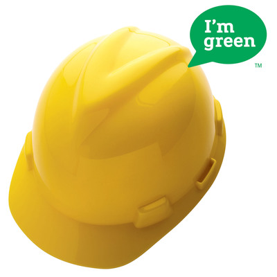 MSA's V-Gard(R) GREEN Hard Hat is Sourced from Sugarcane and Reduces Environmental Impact.  (PRNewsFoto/MSA)
