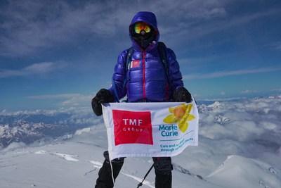 ON TOP OF THE WORLD: Sir Ranulph Fiennes successfully summits Mount Elbrus as part of his 'Global Reach Challenge'. Credit: Liz Scarff / Fieldcraft Studios (PRNewsFoto/TMF Group)