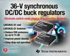 36-V, 2.1-MHz synchronous buck regulators from Texas Instruments eliminate switch-node ringing to reduce electromagnetic interference (EMI), improve power density, and operate in deep drop-out conditions. The 2.5-A LM53625-Q1 and 3.5-A LM53635-Q1 regulators are designed for high-voltage DC/DC step-down applications such as automotive infotainment, high-end cluster, advanced driver assistance systems (ADAS) and body power-supply systems.