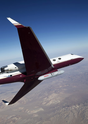 An early version of Raytheon's Next Generation Jammer pod flies on a Gulfstream test bed over the range at Air Naval Station China Lake during a flight test on October 16th. The test was conducted to prove out the maturity of critical technologies in a representative environment against real-world threats.
