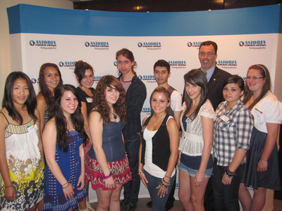 Astoria Federal Savings Senior Vice President and Director of Marketing Brian Edwards (back row at right) with the winners of the 2010 Teen Photo Contest, left to right: Alice Chang, Nicole Gardianos, Kristina Meinardus, Tara Valenza, Jennie Hirshkowitz, Luca Balser, Marlena Turturro, Emmanuel Yusupov, Elizabeth McLean, Amanda Shaffer, and Megan Cusack. Not pictured: Gitel Khoroshko. Each winner received an award and check for $250, while their teachers were each awarded a $100 grant for classroom use. (PRNewsFoto/Astoria Federal Savings)