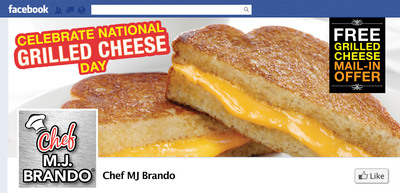 In celebration of National Grilled Cheese Day (#GrilledCheeseDay) on April 12th, Chef MJ Brando (#ChefMJBrando) is offering a special Grilled Cheese Sandwich rebate mail-in offer exclusively on Facebook (www.facebook.com/chefmjbrando).  Chef MJ Brando recently cracked the code on microwave cooking with the first-ever microwave sleeve technology designed specifically for grilled cheese resulting in crispy, delicious sandwiches in just 1.5 minutes.  (PRNewsFoto/Chef MJ Brando)