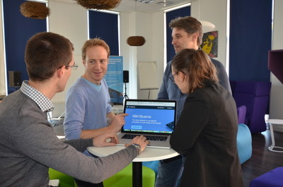 Developers collaborate in IBM's new Bluemix Garage in Nice, France.