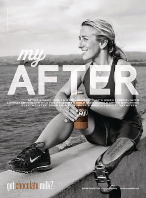 """Ironman and Challenged Athlete Sarah Reinertsen Reveals """"her After"""" is Refueling with Chocolate Milk. Reinertsen is Latest Athlete Featured in the REFUEL I got chocolate milk?(TM) Campaign.  (PRNewsFoto/MilkPEP)"""