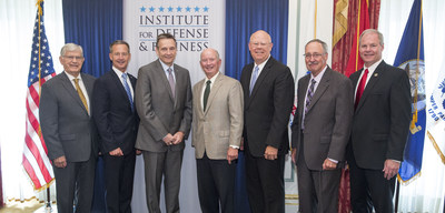 The 2016-2017 IDB Executive Fellows pose with IDB's Chairman of the Board and President. Left to right: The Honorable James G. Martin, Chairman of the IDB Board of Directors; Lieutenant General William M. Faulkner, USMC (Ret); Vice Admiral Mark D. Harnitchek, USN (Ret); General Duncan J. McNabb, USAF (Ret); Rear Admiral Richard T. Gromlich, USCG (Ret); Mr. Donald C. Tison, SES, USA (Ret); Major General James L. Hodge, USA, (Ret), President of the IDB.