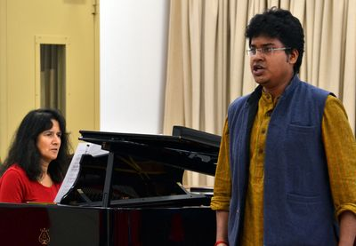 Abinav Sridharan from Chennai performs for his class at Middlesex University in London. He is one of the first musicians from AR Rahman's KM Music Conservatory to arrive in the UK, as part of a new educational partnership with Middlesex University.