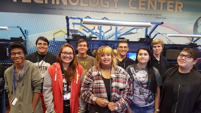 (Pictured from L to R): Learn4Life students Anthony Owens, Matthew Garton, Kellie Barbour, Michael Garton, Vanessa Norris, Anthony Manz, Adam Stewart, Mirka Lopez, Denise Brambilia and Victoria Ramirez, make up two teams participating in the Air Force Association's ninth annual CyberPatriot cyber defense competition. (Not pictured: Victoria Ramirez)