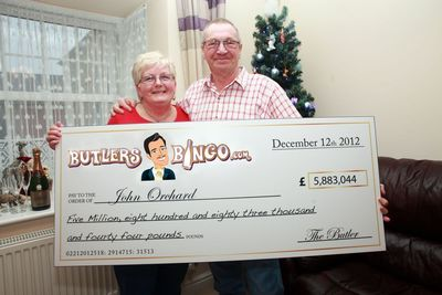 Pictured above are John O. and his wife holding their record breaking £5.9 million cheque from online gaming site Butlers Bingo. Playing one of the site's online slot games, at just 30p per spin, John hit the mega jackpot on Sunday afternoon and was left stunned by his good fortune. All that's left now is for the happy father of three to decide how to spend the money. A happy Christmas awaits!
