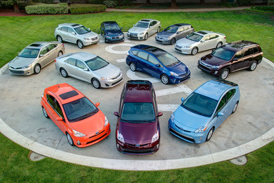 Twelve of the Toyota and Lexus hybrids available in the U.S. (April 2013)  (PRNewsFoto/Toyota)