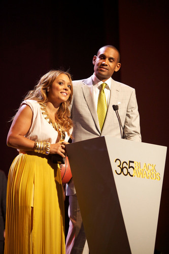GRAMMY(R)-nominated R&B singer/songwriter Tamia and husband, NBA(R) player Grant Hill, accept the ...