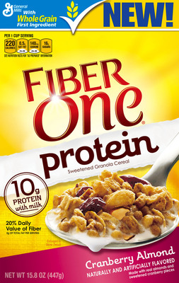 Today, Fiber One(R) is launching Fiber One(R) Protein, a granola cereal that provides the great taste and fiber you love and expect from Fiber One, with protein. Available in two flavors, Maple Brown Sugar and Cranberry Almond, each serving of Fiber One Protein has 10 grams of protein when served with milk, as well as 20 percent of the daily value of fiber. (PRNewsFoto/Fiber One) (PRNewsFoto/FIBER ONE)