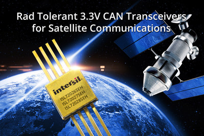 Intersil's ISL7202xSEH 3.3V CAN bus transceivers enable satellite weight and mass reduction up to 18%