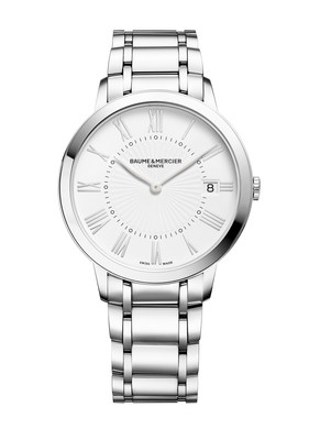 A round 36.5mm, steel watch for women, the Classima 10261 comes with a quartz movement featuring date function and is delivered on a steel bracelet. For more information, visit https://www.baume-et-mercier.com