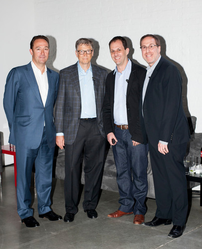 Andrew White, Bill Gates, Gary Shenk, and Mark Owens announce Corbis Entertainment's acquisition of U.K.-based Sports Marketing Agency WSM Communications. (PRNewsFoto/Corbis Entertainment)