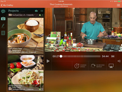 The new mobile Craftsy interface features bigger and easier-to-touch controls for watching videos and navigating classes.