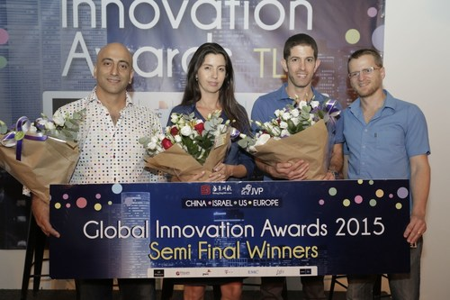 Finalists from Right to Left: Raanan Lidji, Roy Dagan, Co-Founders, SecuriThings; Hila Goldman-Asian, CEO DiaCardio; Menny Shalom, Founder & CEO, Wayerz (Photo Credits: Different Vibe) (PRNewsFoto/Jerusalem Venture Partners) (PRNewsFoto/Jerusalem Venture Partners)
