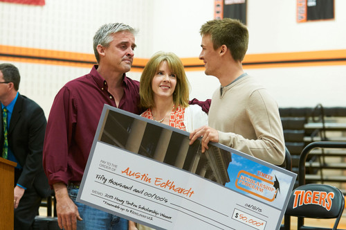 Ed and Kerry Eckhardt congratulate their son Austin a moment after they learn Austin has been awarded the ...