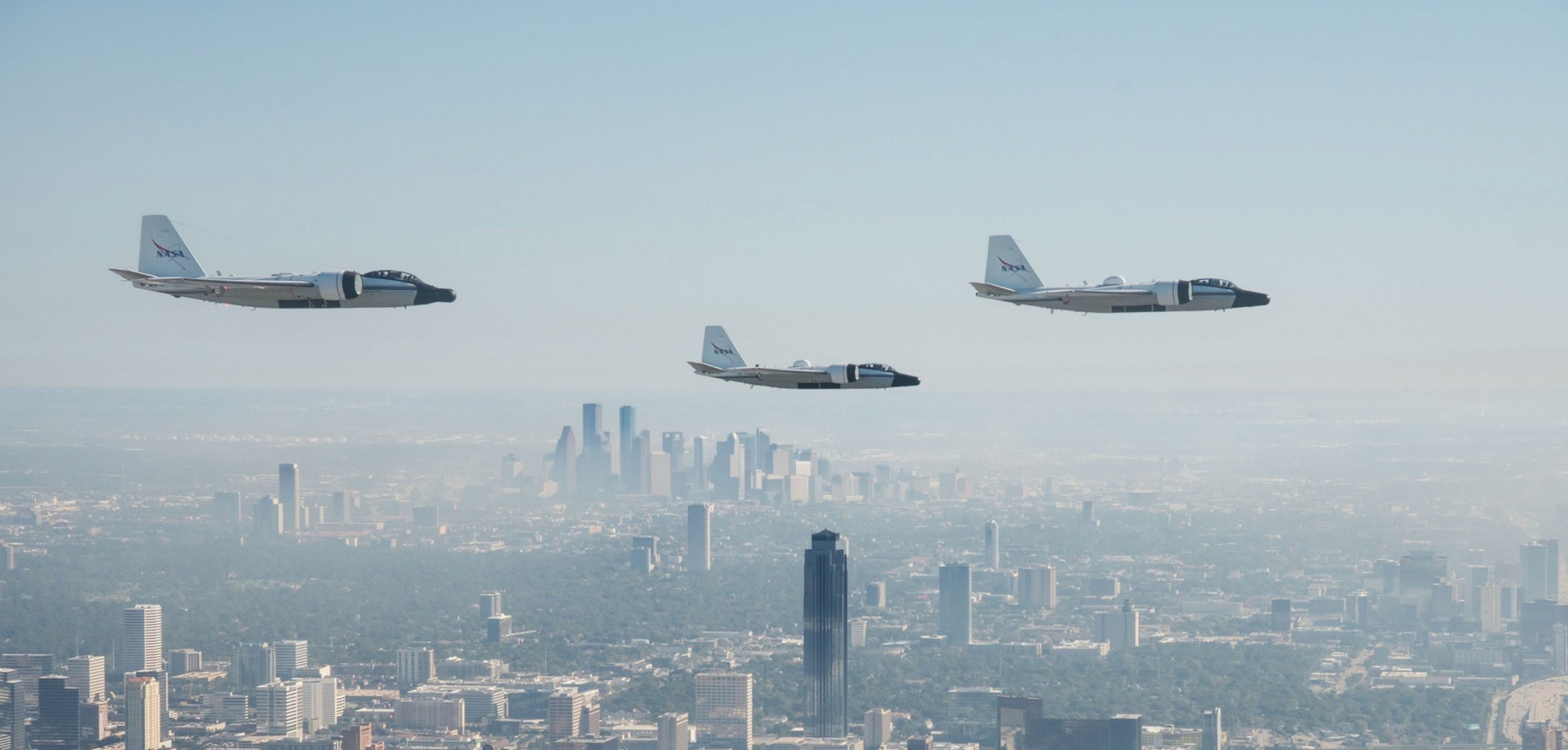 NASA's three WB-57s flying over Houston. This footage was captured by the AIRS/DyNAMITE system technology that was developed in Southern Research Engineering labs.