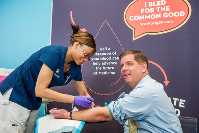 Mayor Martin J. Walsh donated a blood sample for Boston-based ORIG3N, which is building the world's largest crowdsourced biorepository of induced pluripotent stem cells, called LIfeCapsule. A half teaspoon of donated blood can be grown into different cell types, including neurons, heart cells and liver cells.