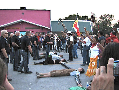 Pine Ridge South Dakota Native American activists peacefully blockaded the delivery of Budweiser beer to the ...