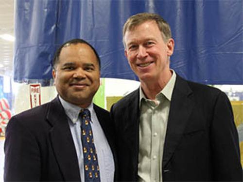 Colorado Gov. John Hickenlooper presenting DH2i's Don Boxley with Advanced Industries (AI) Accelerator ...