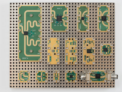 X-Microwave and Peregrine Semiconductor announce the addition of Peregrine's RF products to X-Microwave's online simulation tool and hardware prototyping system. Pictured are Peregrine's RF products as X-MWblock(TM) components on an X-Microwave prototype plate.