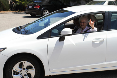 105-year-old Edythe, California's oldest driver, enjoying her new car.  (PRNewsFoto/Direct Relief)