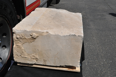 A piece of Indiana limestone that was part of the United States Pentagon before it was destroyed in the 2001 terrorist attack, arrived in Seattle today. South King Fire and Rescue was recently awarded the artifact by the Pentagon, which is sharing pieces of the destroyed building to 9/11 memorials throughout the nation.