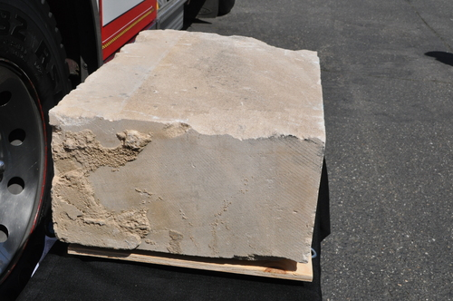 A piece of Indiana limestone that was part of the United States Pentagon before it was destroyed in the 2001 ...