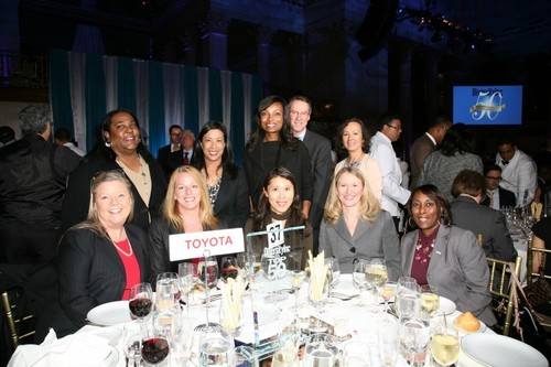 "Toyota associates from all affiliates came together at DiversityInc.'s Top 50 Companies for Diversity(R) awards ceremony to celebrate Toyota's achievement. (left to right) Standing: Dana Green, TMA; Jennifer ""Jae"" Requiro, TFS; Latondra Newton, TMA; Stephen Lewis, TFS; Ann Bybee, TFS. Seated: Midge Waters, TMS; Laura Hochuli, TMA; Yuko Ishikawa, TMA; Shannon Scheuerle, TEMA; Adrienne Trimble, TEMA. (PRNewsFoto/Toyota)"