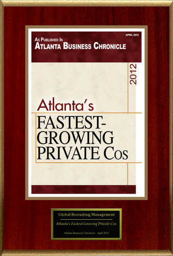 Global Recruiting Management / David McMurray Selected For 'Atlanta's Fastest-Growing Private Cos'