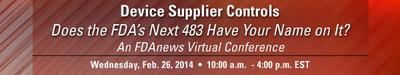 FDAnews Announces: Device Supplier Controls Virtual Conference, Feb. 26.  (PRNewsFoto/FDAnews)