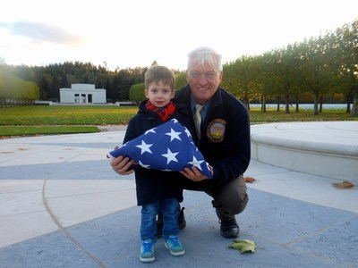 Aaron Howson stands with Superintendent Andy Anderson at Epinal American Cemetery.