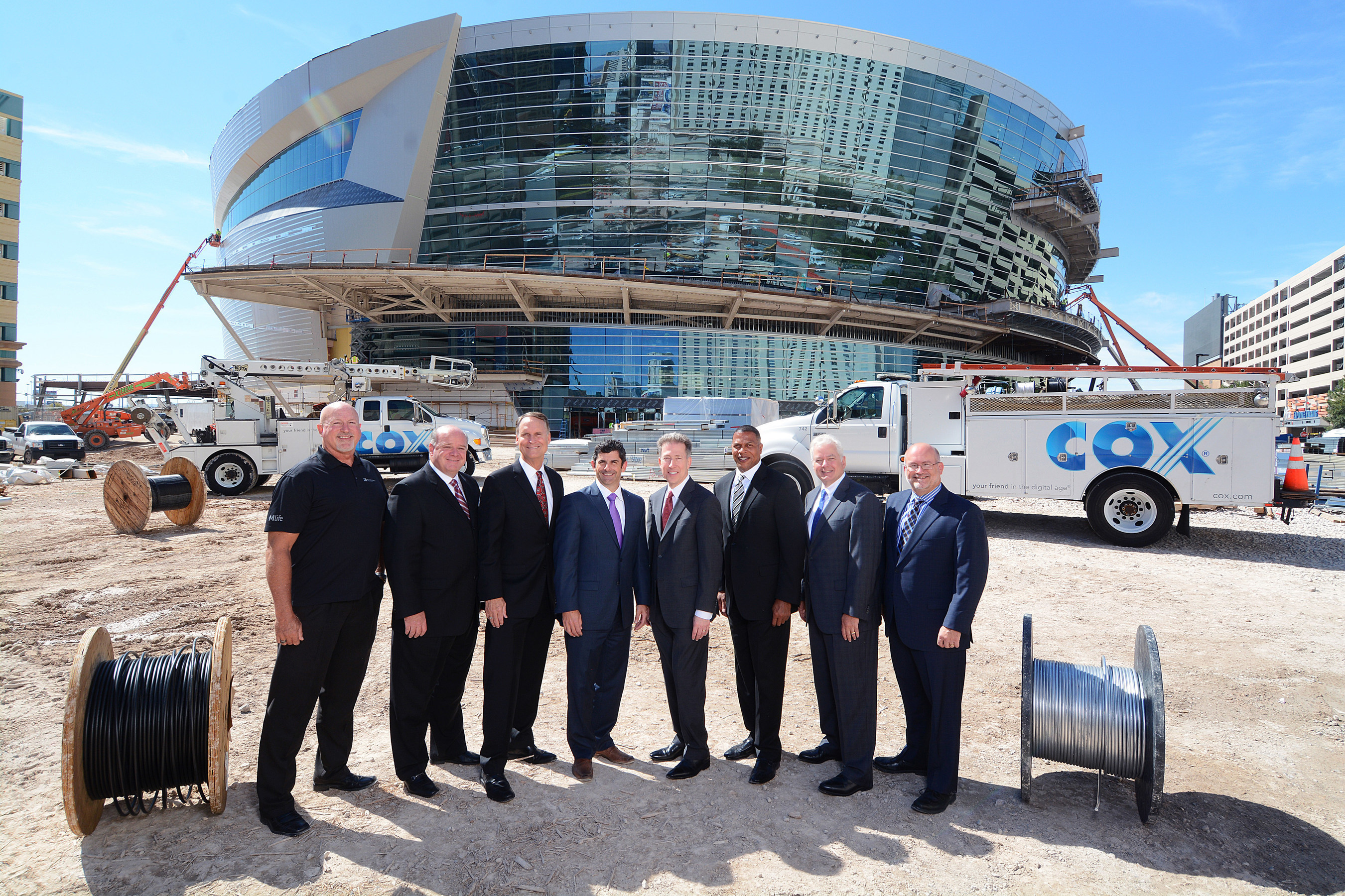 Posing in front of the Las Vegas Arena are from left Mark Prows, senior vice president, Arenas, MGM Resorts International; Steve Rowley, senior vice president, Cox Business; Mark Faber, senior vice president of global partnerships, AEG; Rick Arpin, senior vice president of entertainment and development, MGM Resorts International; Pat Esser, president, Cox Communications; Derrick R. Hill, vice president, Cox Business/Hospitality Network, Las Vegas; Michael F. Bolognini, vice president...
