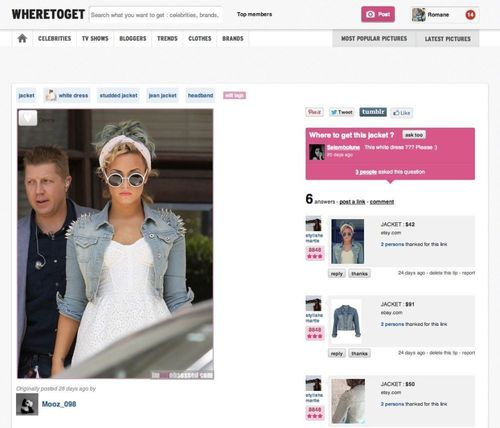 Wheretoget.com helps people buy the looks they have seen during the Fashion Weeks but don't know 'where to get'