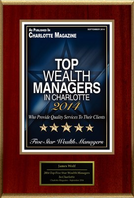 "James Wolf Selected For ""2014 Top Five Star Wealth Managers In Charlotte"" (PRNewsFoto/American Registry)"