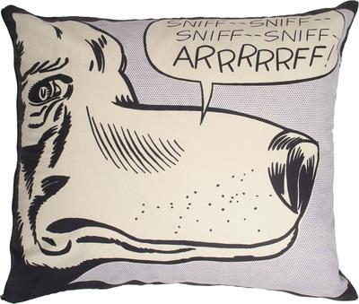 Lichtenstein Rectangle Pillow, ARRRRRFF!, 1962.  (PRNewsFoto/Barneys New York)