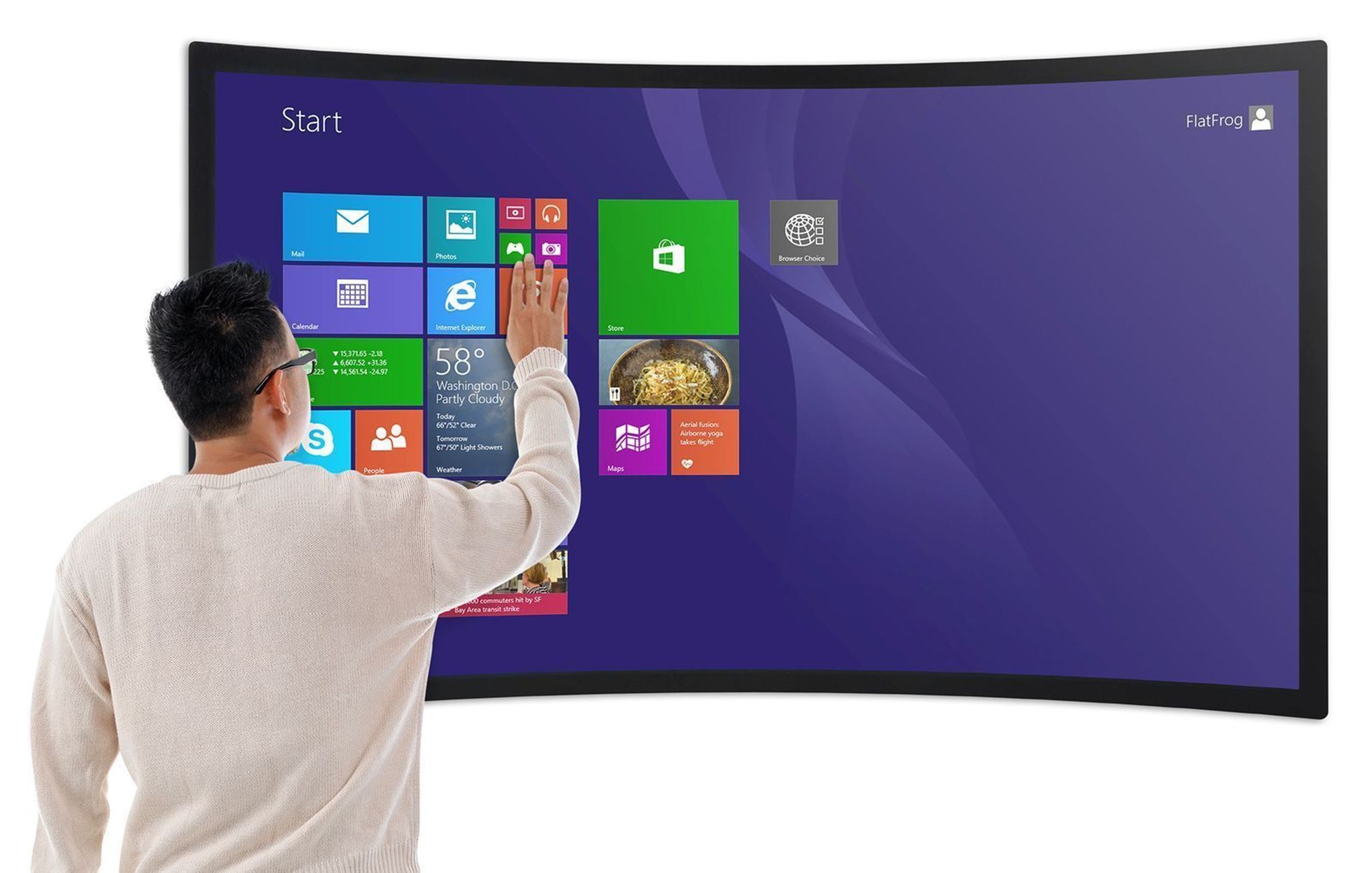 """FlatFrog InGlass(TM) touchscreens support both flat and curved displays ranging from 15 to 84"""". The multi-touch technology is bezel-free and without capacitive sensors impairing the transparency. This results in perfect optical clarity suitable for high-resolution touch displays. (PRNewsFoto/FlatFrog)"""