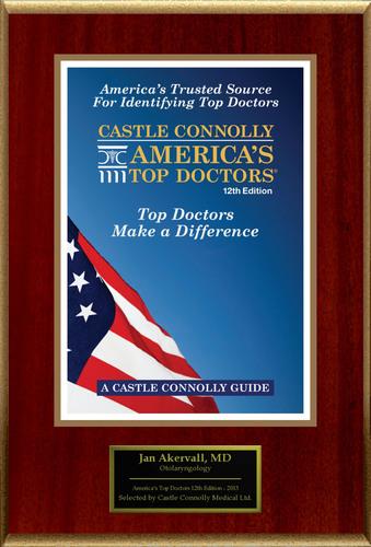Dr. Jan Akervall, Otolaryngology, is named one of America's Top Doctors(R).  (PRNewsFoto/American Registry)
