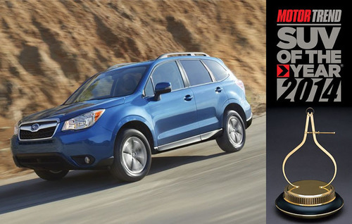The 2014 Subaru Forester was chosen as the Best Sport/Utility of the Year by Motor Trend magazine.  (PRNewsFoto/Briggs Auto Group)
