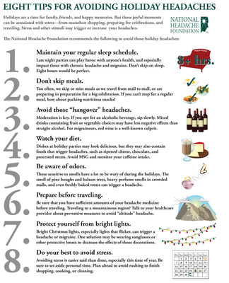 Holidays are a time for family, friends, and happy memories. But those joyful moments can be associated with stress - from marathon shopping, preparing for celebrations, and traveling. Stress and other stimuli may trigger or increase your headaches. The National Headache Foundation has some tips for you to help you avoid headaches this holiday season.