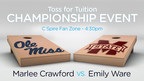 Two university students at rival Mississippi schools will square off in a high-stakes bean bag toss game this weekend with the winner receiving free tuition for the remainder of their college education. The Toss for Tuition contest between Ole Miss and Mississippi State is sponsored by C Spire, a Mississippi-based diversified telecommunications and technology services provider.