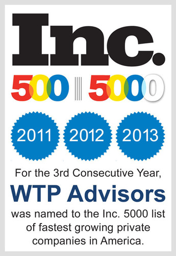 For the Third Year in a Row, WTP Advisors Named to the Inc. 500|5000 List of Fastest Growing Private Companies in America.  (PRNewsFoto/WTP Advisors)
