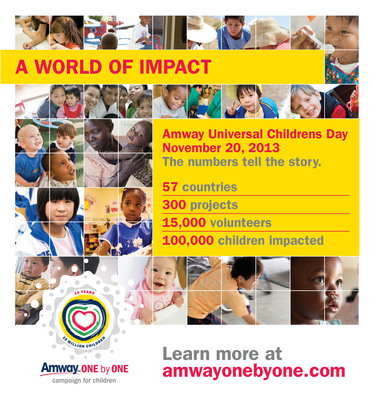 Amway Universal Children's Day Creates a World of Impact. During the span of 24 hours on November 20, more than 15,000 Amway business owners and employees mobilized to serve children's causes in their communities.  (PRNewsFoto/Amway)