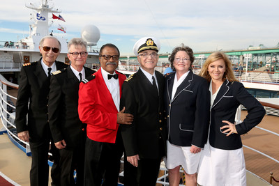 The Love Boat cast reunited aboard Pacific Princess in the Port of Los Angeles to celebrate the 50th anniversary of Princess Cruises. From left: Bernie Kopell (Doc), Fred Frandy (Gopher), Ted Lange (Isaac), Gavin MacLeod (Captain Stubing), Cindy Tewes (Julie) and Jill Whelan (Vicki Stubing).