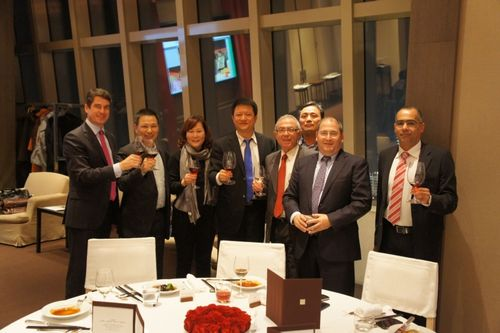In the photograph, from left to right: Mr. Stefan Borgas, President & CEO of ICL; Mr. Yuan Bingrong, Chairman of Zhejiang AMP International, AMPC Zhejiang; Madam He Chun, General Manager of Fertilizer Division of Guangdong Tianhe; Mr. Le Jian, Executive Vice President of AMPC Shanghai; Mr. Dani Chen, President & CEO of ICL Fertilizers; Mr. He Ming, Manager of Fertilizers Sector of ICL Fertilizers China; Mr. Nir Gilad, Chairman of the Board of Directors of ICL; and Mr. Eli Amon, Vice President Sales of ICL Fertilizers (PRNewsFoto/ICL - Israel Chemicals Ltd)