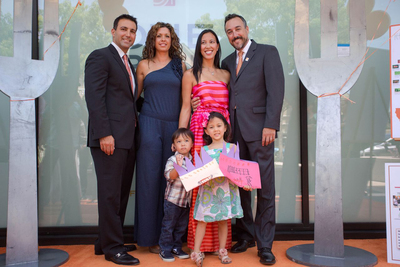 Local LYFE Kitchen Ambassador and Tarzana resident Dr. Armand Dorian and his wife join fellow LYFE Ambassador Dr. Anthony Cardillo and his family at LYFE Kitchen's Sproutcutting Ceremony in Tarzana, Calif. Photo credit: Sam Trauben