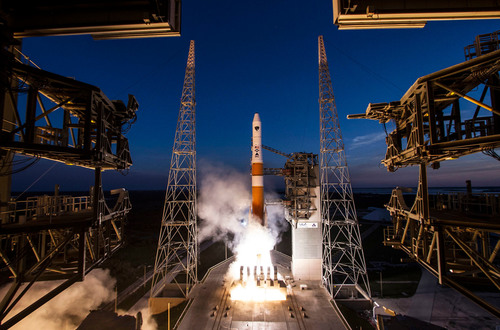 A United Launch Alliance (ULA) Delta IV rocket successfully launched the sixth Global Positioning System (GPS) IIF-6 satellite for the U.S. Air Force at 8:03 p.m. EDT May 16, 2014 from Space Launch Complex-37. This is ULA's fifth launch in 2014, and the 82nd successful launch since the company was formed in December 2006. GPS IIF-6 is the sixth in a series of next generation GPS satellites and will join a worldwide timing and navigation system. Photo courtesy of ULA (PRNewsFoto/ATK)