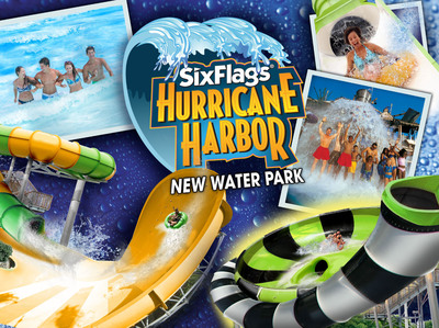 "Hurricane Harbor, set to open in late May 2014, will include an 800,000 gallon wave pool, a multi-slide tower, and a ""world's first"" single slide tower combining two extreme slide thrills, plus an interactive children's water play area. (PRNewsFoto/Six Flags Over Georgia)"